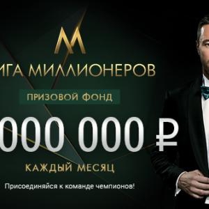 БК «Лига Ставок»: акция «Лига Миллионеров»
